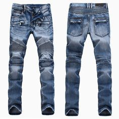 Mens New Extreme Sports Series Jeans Distressed Ripped Cycling Slim Jeans Stretch Motorcycle Demin Pants