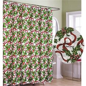 Holiday Ribbons Fabric Christmas Shower Curtain Holiday Clearance