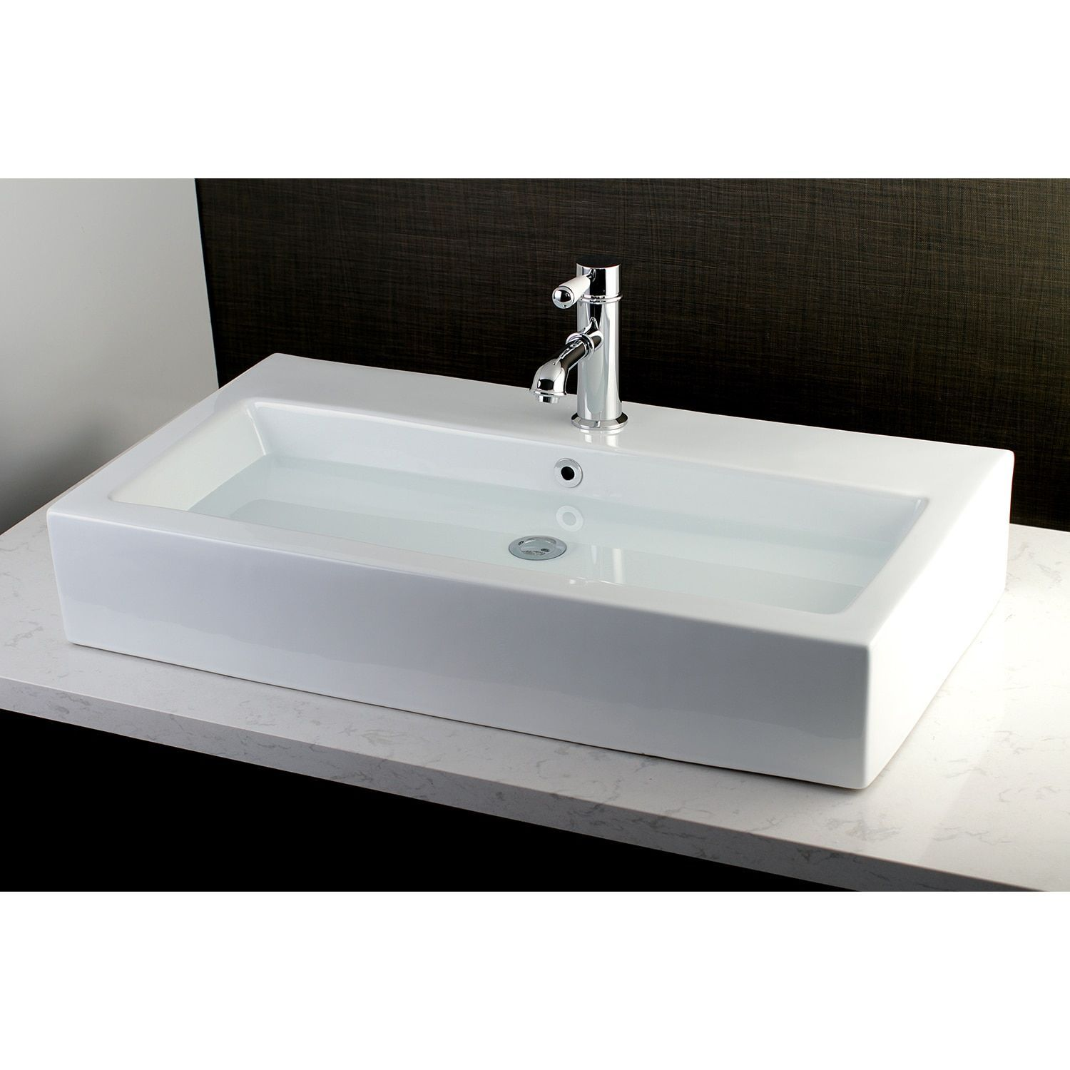 Contemporary Large 32 Inch Elongated Vessel Bathroom Sink White