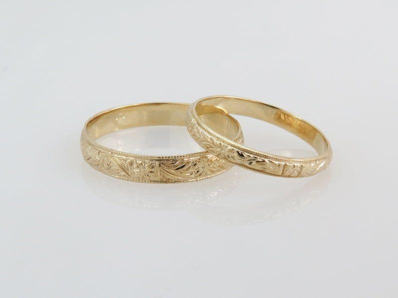 Unisex Wedding Band Couples Rings 14k Gold Wedding Ring Set Etsy In 2020 Wedding Rings Sets Gold 14k Gold Wedding Ring Set Wedding Ring Sets Vintage