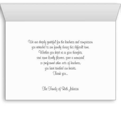 Sympathy Memorial Thank You Note Card    Rose  Condolence Sample Note