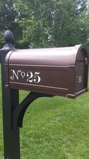 Copper Mailbox With Black Post And White Decal Updating House Copper Mailbox Curb Appeal