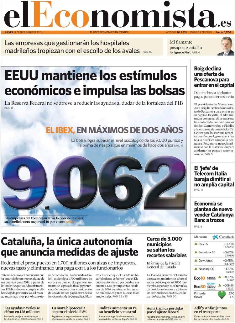 Los Titulares y Portadas de Noticias Destacadas Españolas del 19 de Septiembre de 2013 del Diario El Economista ¿Que le pareció esta Portada de este Diario Español?
