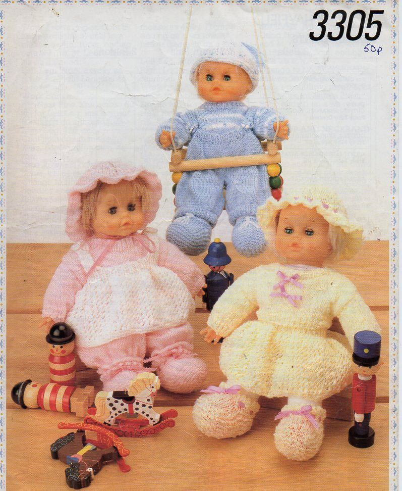 d883453c3 dolls knitting pattern pdf download baby dolls clothes dolls outfit  dungarees sweater bloomers skirt pinafore 16