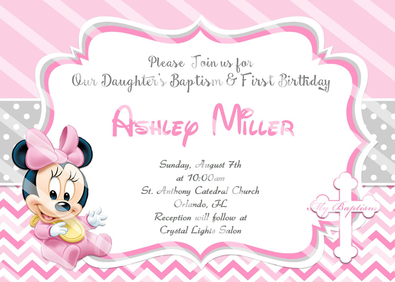 baby minnie 1st birthday christening