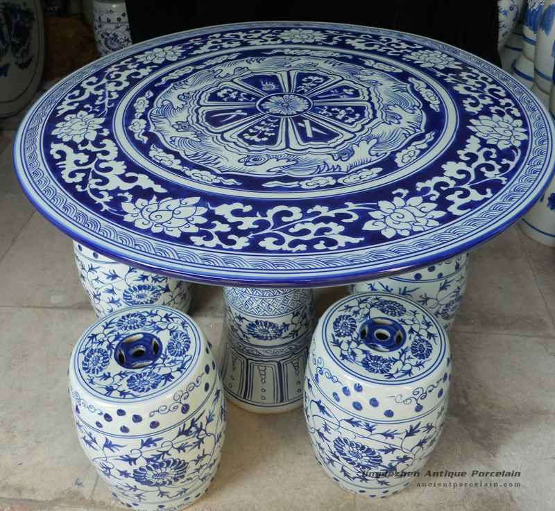 Blue And White Porcelain Garden Table And Stool Blue