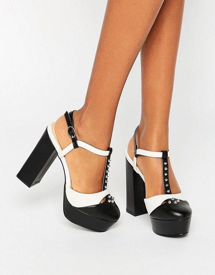 a52b95260f1 Daisy Street T-Bar Studded Mega Platform Shoes