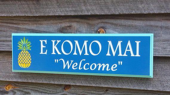 Outdoor Aloha Hawaiian Pool Beach Welcome Sign