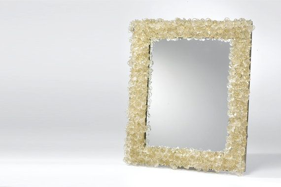 Decorative wall mirror with polyester flowers by Flowersinlight, $280.00