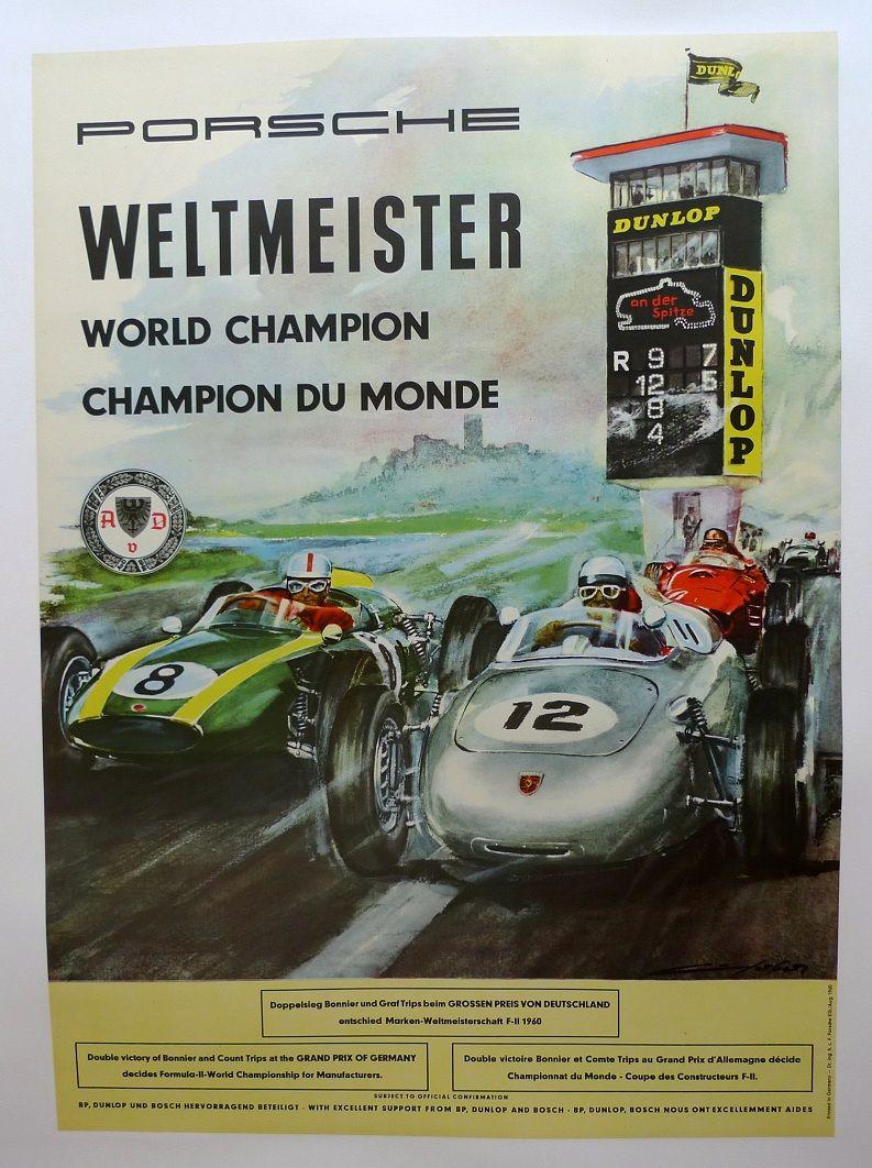 German Porsche Race Car Victory Poster