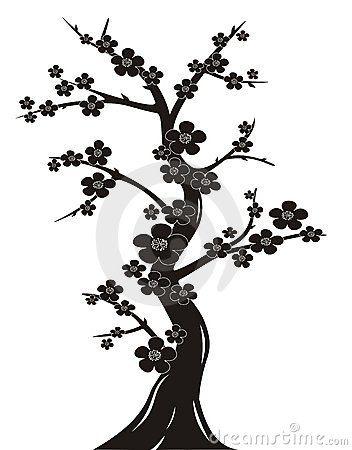 Cherry Tree Silhouette Cherry Blossom Drawing Black Cherry Tree Tree Sketches