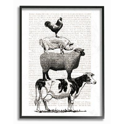 Stupell Industries Black And White Animal Stack By Daphne Polselli Textual Art Print On Plastic In 2021 Farm Art Farm Prints Book Page Art