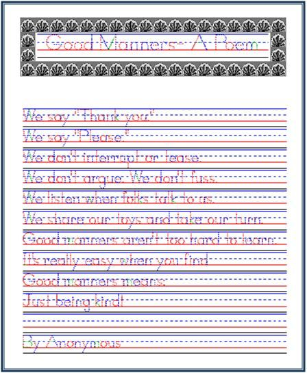 Good Manners- A Poem, Handwriting Practice from Startwrite | Write ...