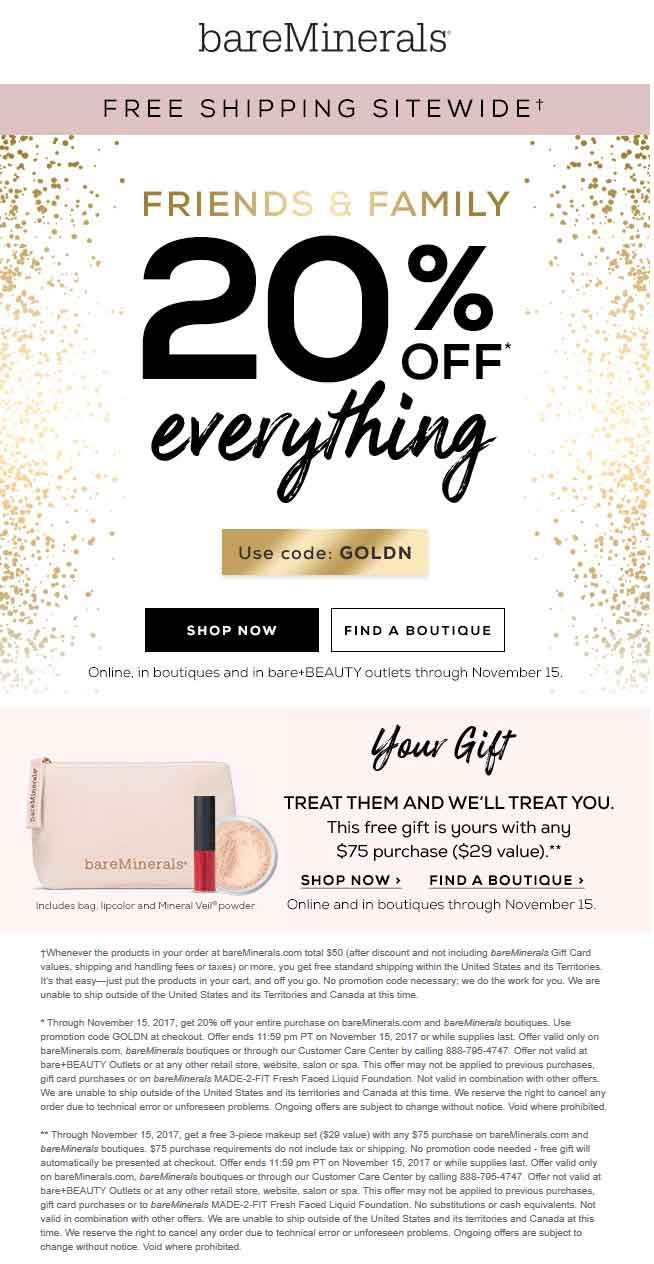 Pinned November 13th 20 Off Everything At Bareminerals Or Online Via Promo Code Goldn Thecouponsapp Shopping Coupons Coupon Apps Free Gifts