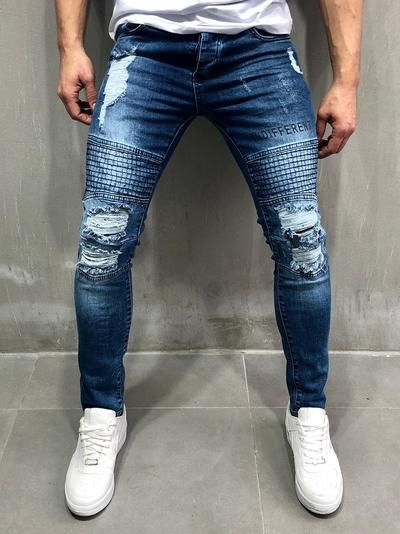 Men Skinny Fit Stitch Grid Biker Ripped Jeans  Blue 4062 is part of Streetwear jeans - This item will be delivered in  23 Business days + Easy and free return     PRODUCT FEATURES Men's Streetwear Jeans, Rider Jeans, 'Indifferent' Print on the Left Leg, Random Ripped, Casual, Skinny Fit, 5 Regular Pockets, Button Fastening, Street Fashion   MATERIALS Street fashion men's rider jeans with random rips are made up of 98% COTTON and 2% ELASTANE   SIZE GUIDE Model's height and weight 6 Ft 1 inch (186 cm) and 178 LBS (81 kg)  Model wears size W32     Once an item is  SOLD OUT , we do NOT restock   Our focus is to bring new items every week  Please get yours while it's available