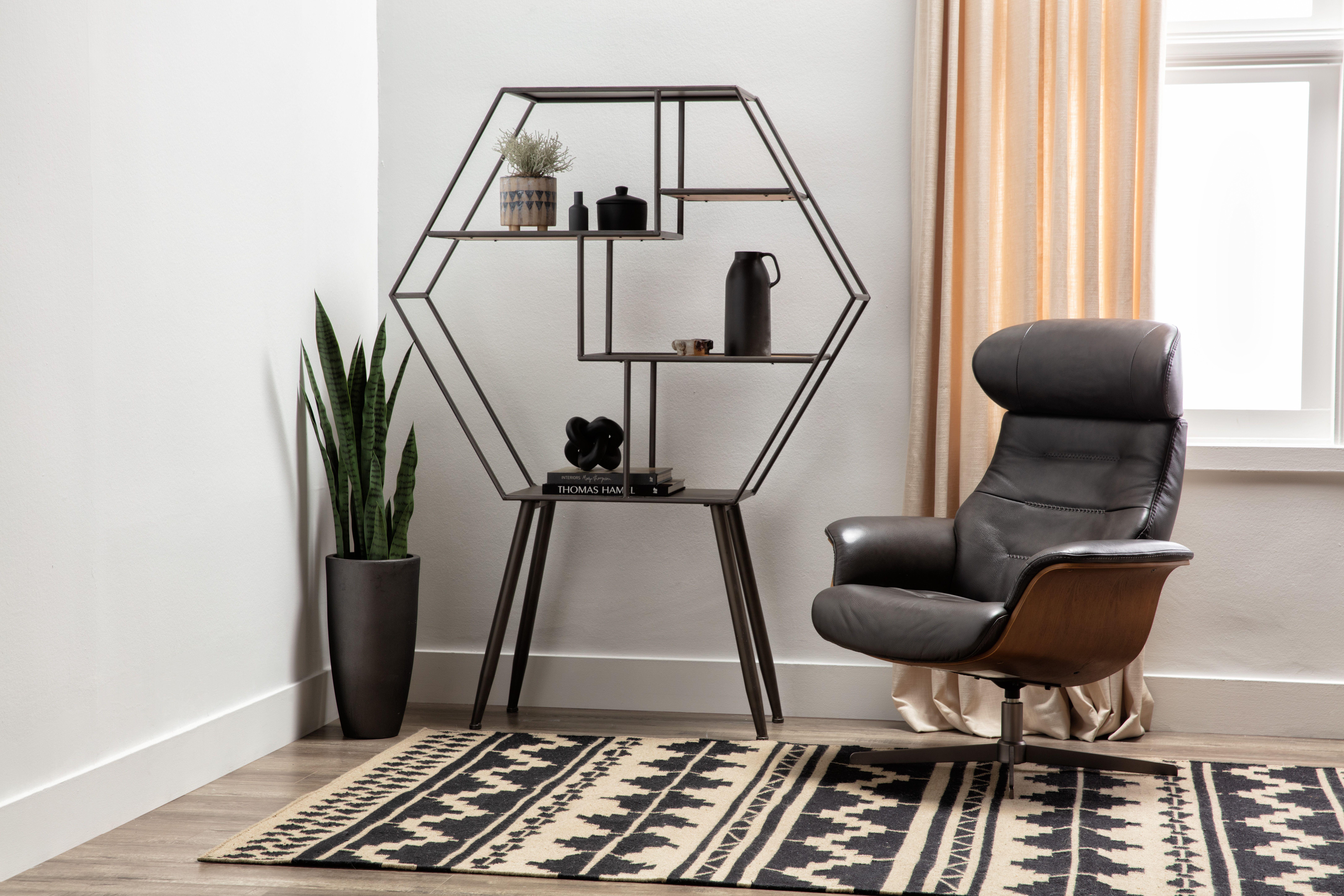 Amala dark grey leather reclining swivel chair with