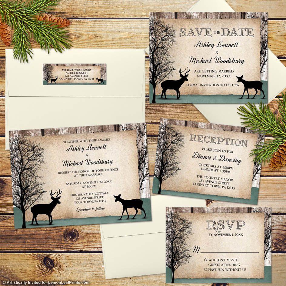 Rustic Woodsy Wedding Ideas: Wedding Invitations - Deer Rustic Woodsy