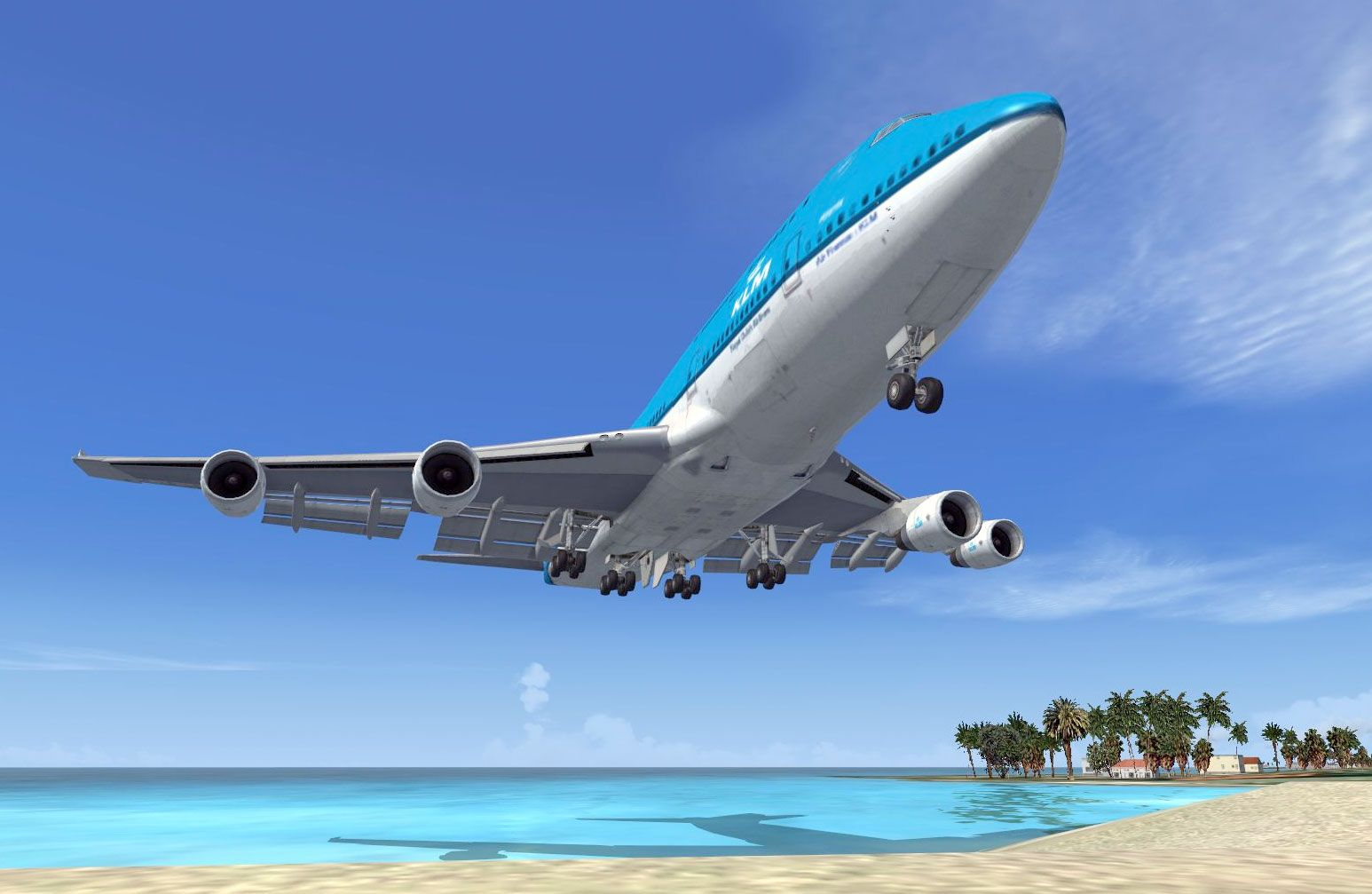 A Boeing 747 landing at the famous St Maarten airport