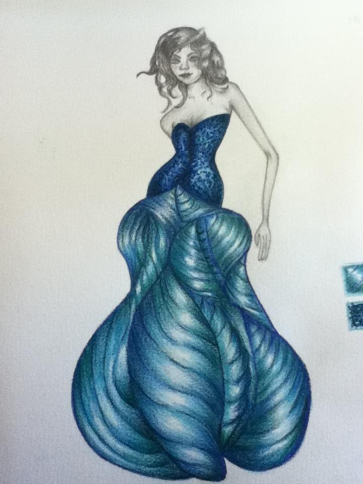 Diseño de modas inspirado en pez vela Técnica: lápiz de color y gráfito.
