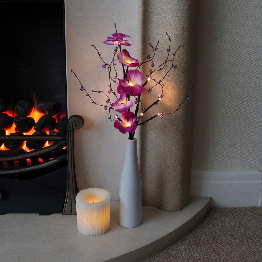 Cm Indoor Battery Flower Lights With Vase And Timer Festive - Flower lights for bedroom