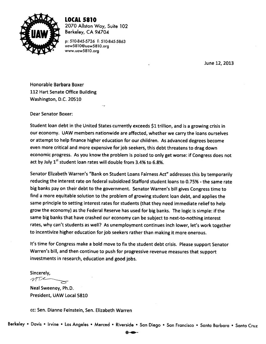 Grievance Letter Student Letter From Uaw   Ideas For The