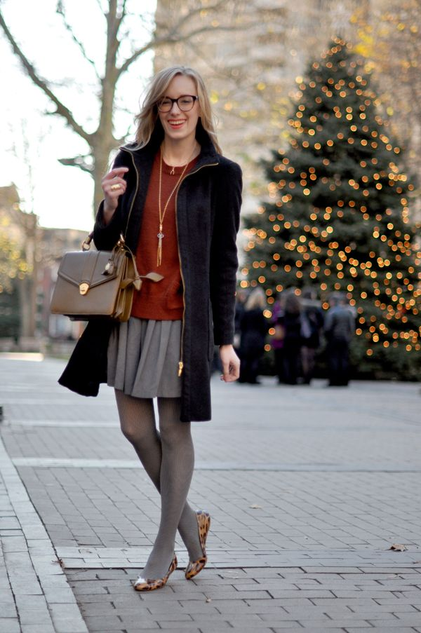 20cba7929b8 leopard flats + gray tights + gray skirt + rust sweater + black coat ...