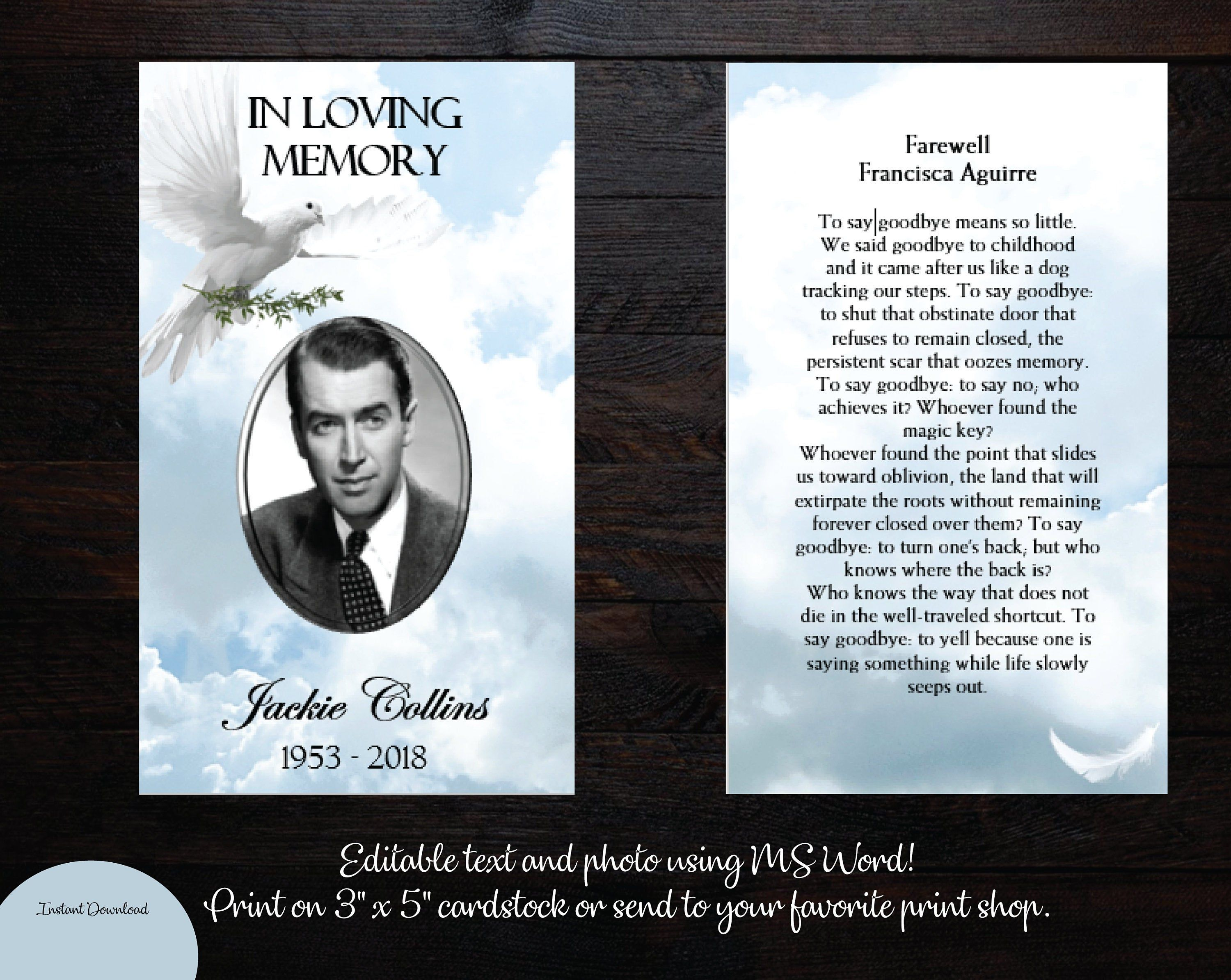 Diy Printable Funeral Prayer Card 3 X 5 Memorial Prayer Etsy Funeral Cards Funeral Prayers Prayer Cards