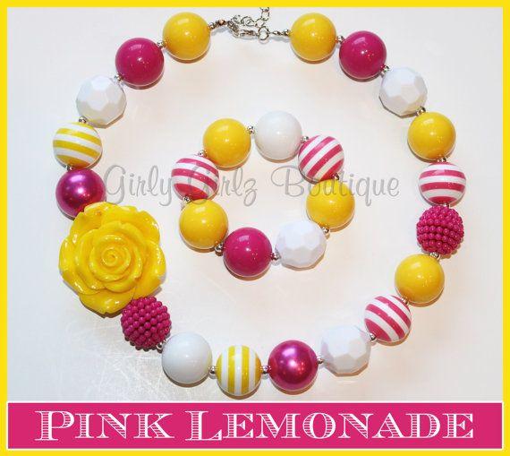 SALE SALE Pink Lemonade Summer Girls Chunky Bubblegum Necklace  & Bracelet Set yellow hot pink white  photo prop  party jewlery on Etsy, $12.50