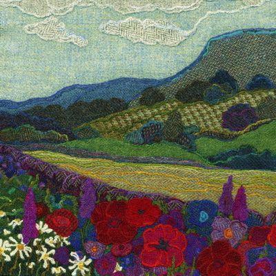 """Wild Campanulas"" - Harris Tweed needle felted paintings, giclee prints & greetings cards by Jane Jackson. www.brightseedtextiles.com"