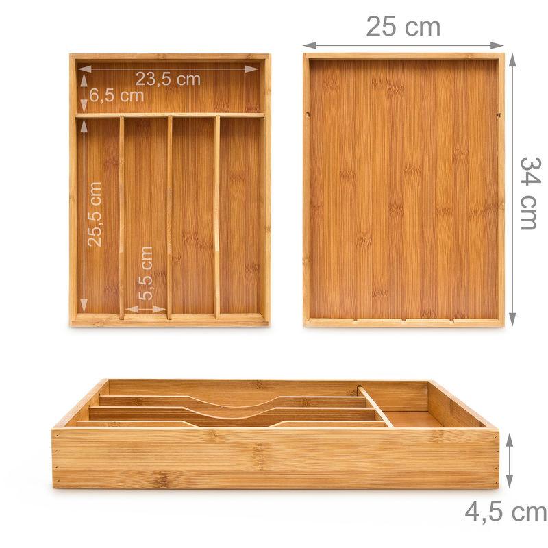 Bandeja Para Cubiertos Con 5 Compartimentos Hecho De Bambú Organizador De Cubiertos Organizador De Utensilios Organización De Taller De Carpintería