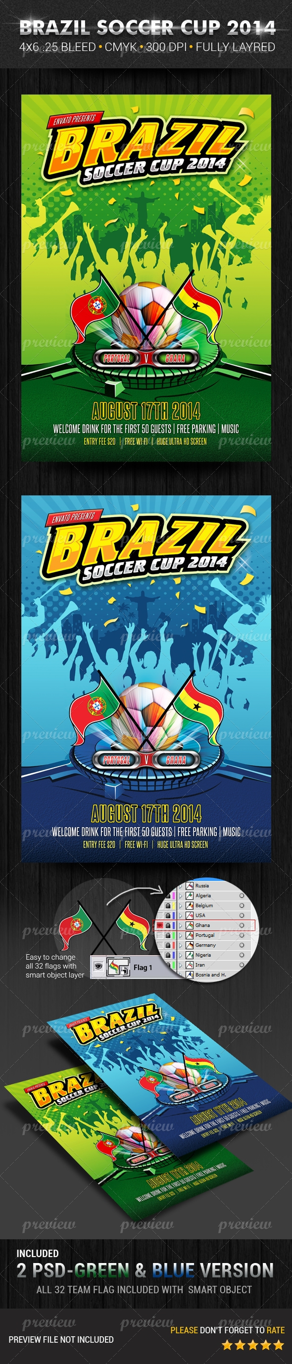 Brazil Soccer Cup Flyer Template by Pushpalata Pradhan