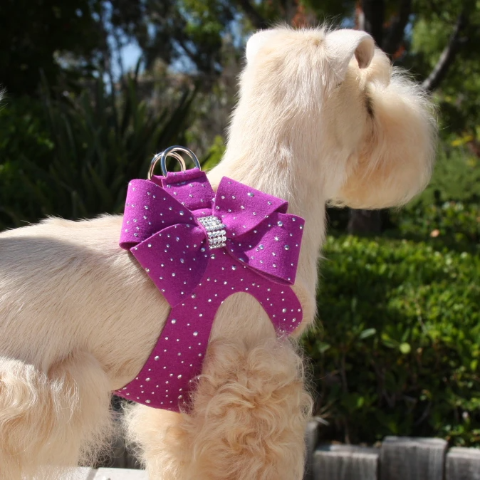 Silver stardust nouveau bow step-in dog harness – 53 colors