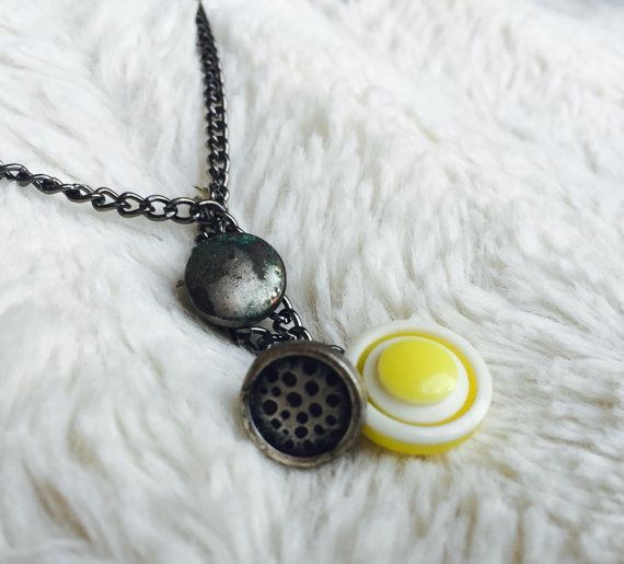 Metal and Yellow Button Necklace by NeverDoubtDesigns on Etsy