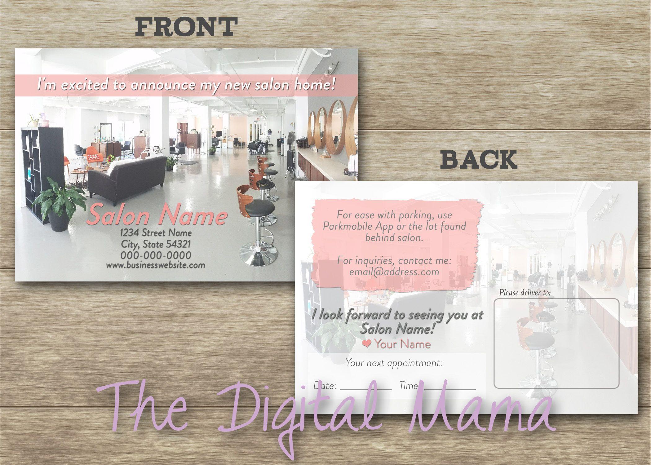 Hair Salon Moving Postcard - Salon Business Postcard - Nail Hair ...