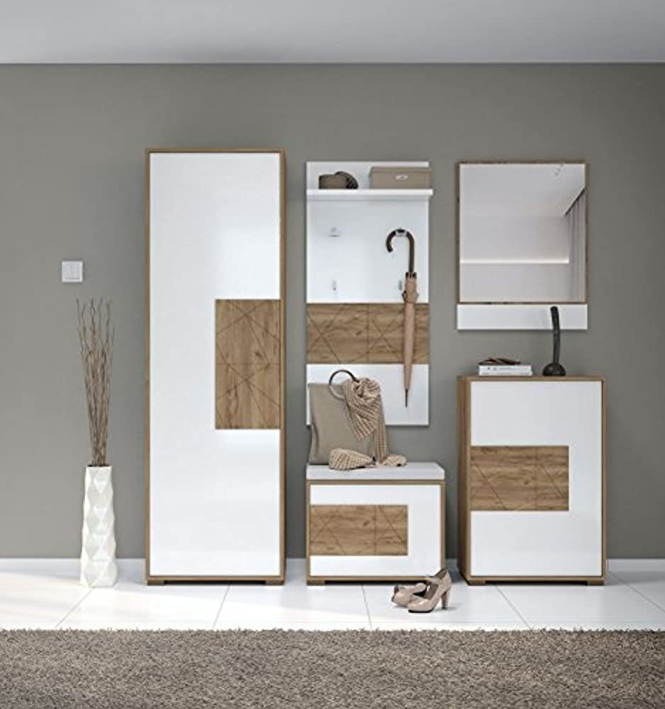 Garderobe Komplett Set C Manase 5 Teilig Farbe Eiche Braun Weiss