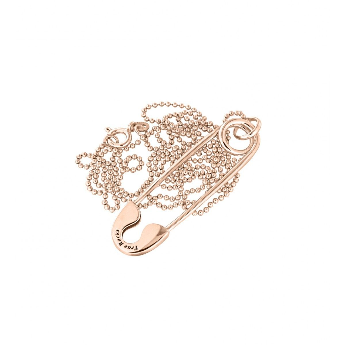 True Rocks Medium Rose Gold Plated Silver Safety Pin Pendant 48Gsp9gP
