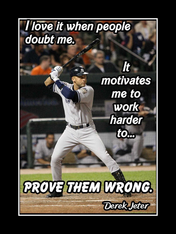 b1a3e6b6d0 Baseball Motivation Poster Derek Jeter Photo Quote Wall Art Print 5x7