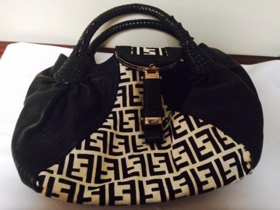 Round She Goes - Market Place - Authentic FENDI Spy Bag Black & White Pony VGC hand bag