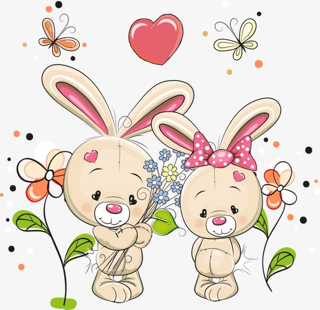 Vector Cartoon Rabbit And Flowers Cartoon Clipart Rabbit Clipart Cartoon Rabbit Png And Vector With Transparent