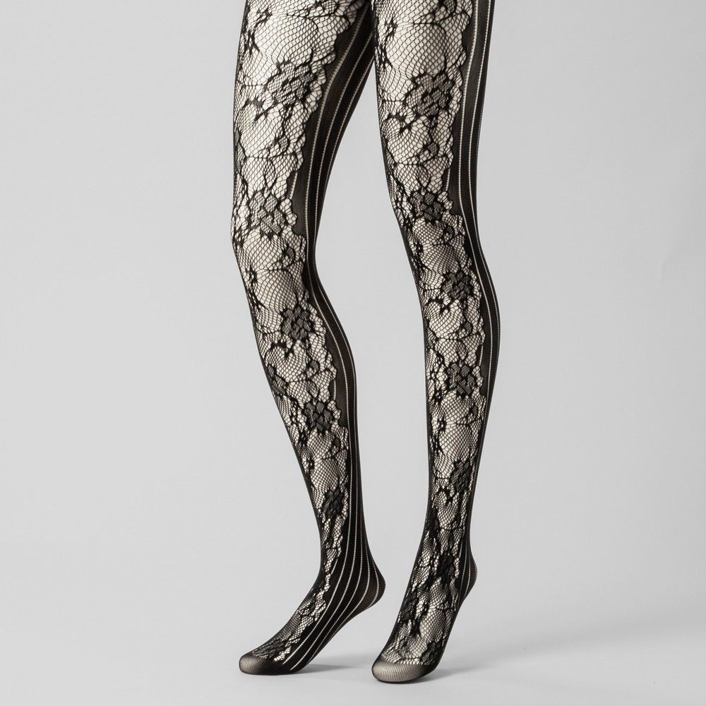 cb5db06d8 Women's Rose Net and Striped Tights - A New Day Black M/L in 2019 ...