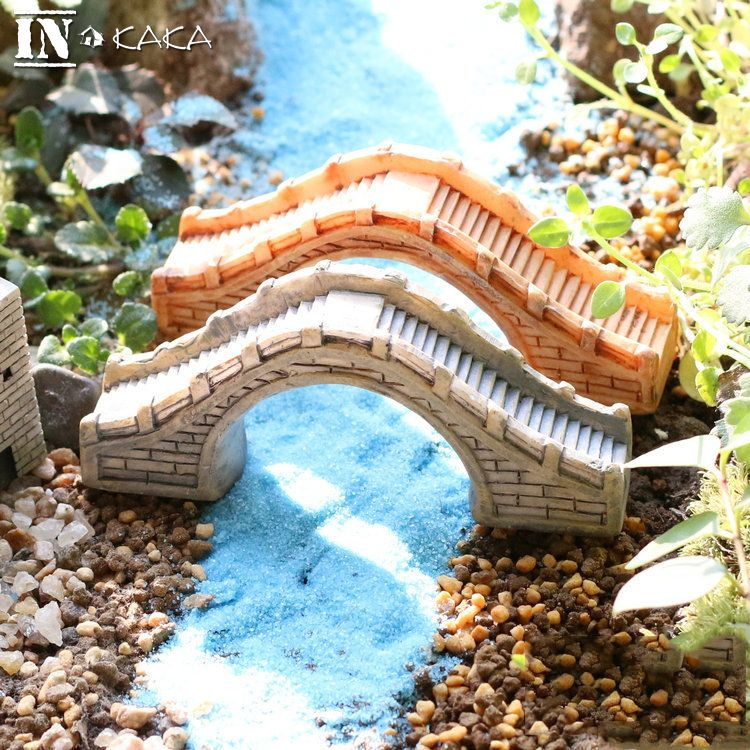 Vintage Resin Chinese Antique Arch Bridge Building Model Home Statues Micro Garden Plant Decoration Ornament Figurines