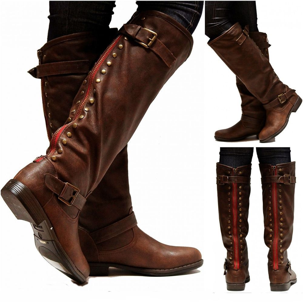 New Womens JM18 Brown Red Zipper Studded Riding Knee High Boots ...