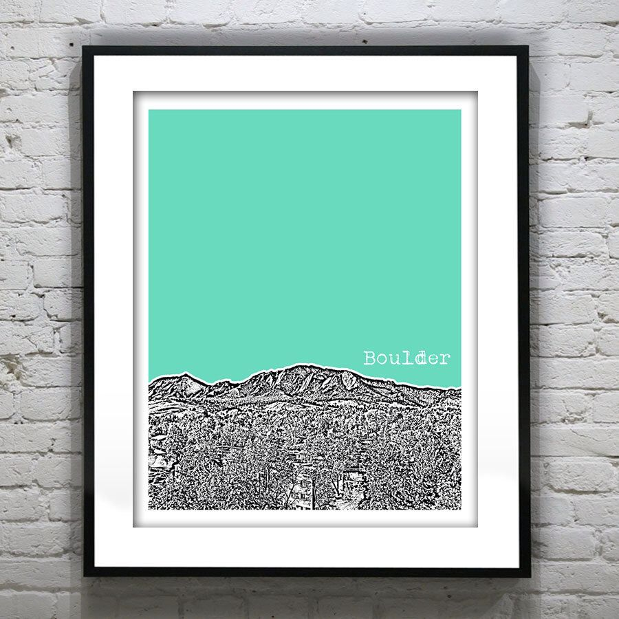 Boulder CO Skyline Colorado Poster Art Print Version 3 Mountains by AnInspiredImage on Etsy https://www.etsy.com/listing/166571156/boulder-co-skyline-colorado-poster-art