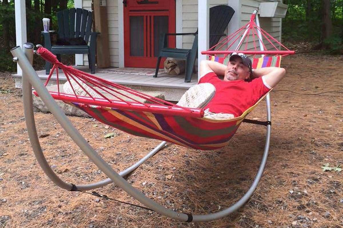 Red Lightweight Portable Folding Steel Frame Hammock w// Carry Bag Indoor Outdoor