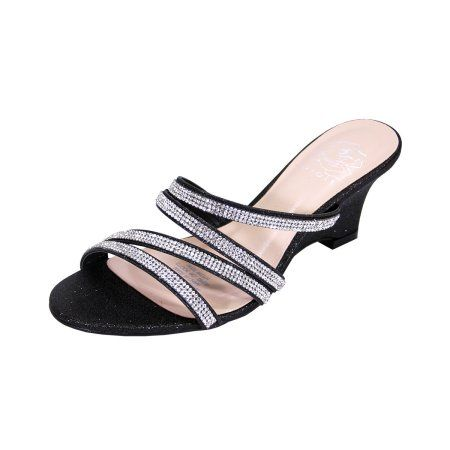 4c6e018cd Floral Kelly Women Extra Wide Width Rhinestone Strappy Slip On Wedge Heeled  Party Sandals Black 5