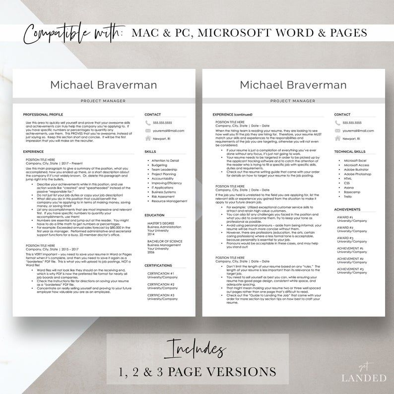 Project Manager Resume Template, Modern Resume Design