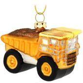 Dump Truck Glass Ornament
