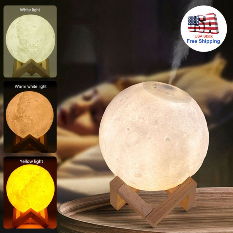 880ml 3d Moon Shape Air Humidifier Essential Oil Diffuser Lamp Led Light Decor In 2020 Essential Oil Diffuser Humidifier Moon Light Lamp Essential Oil Diffuser