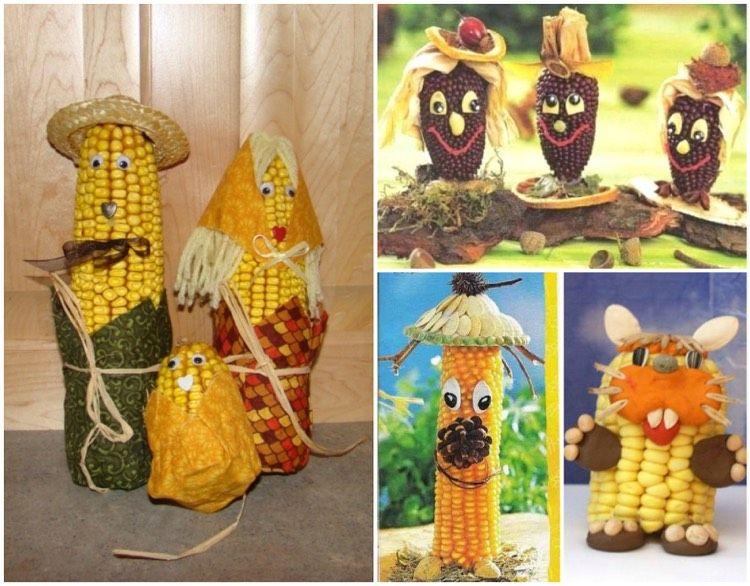 Lustige Maiskolben Männchen Mit Kindern Basteln Basteln Pinterest