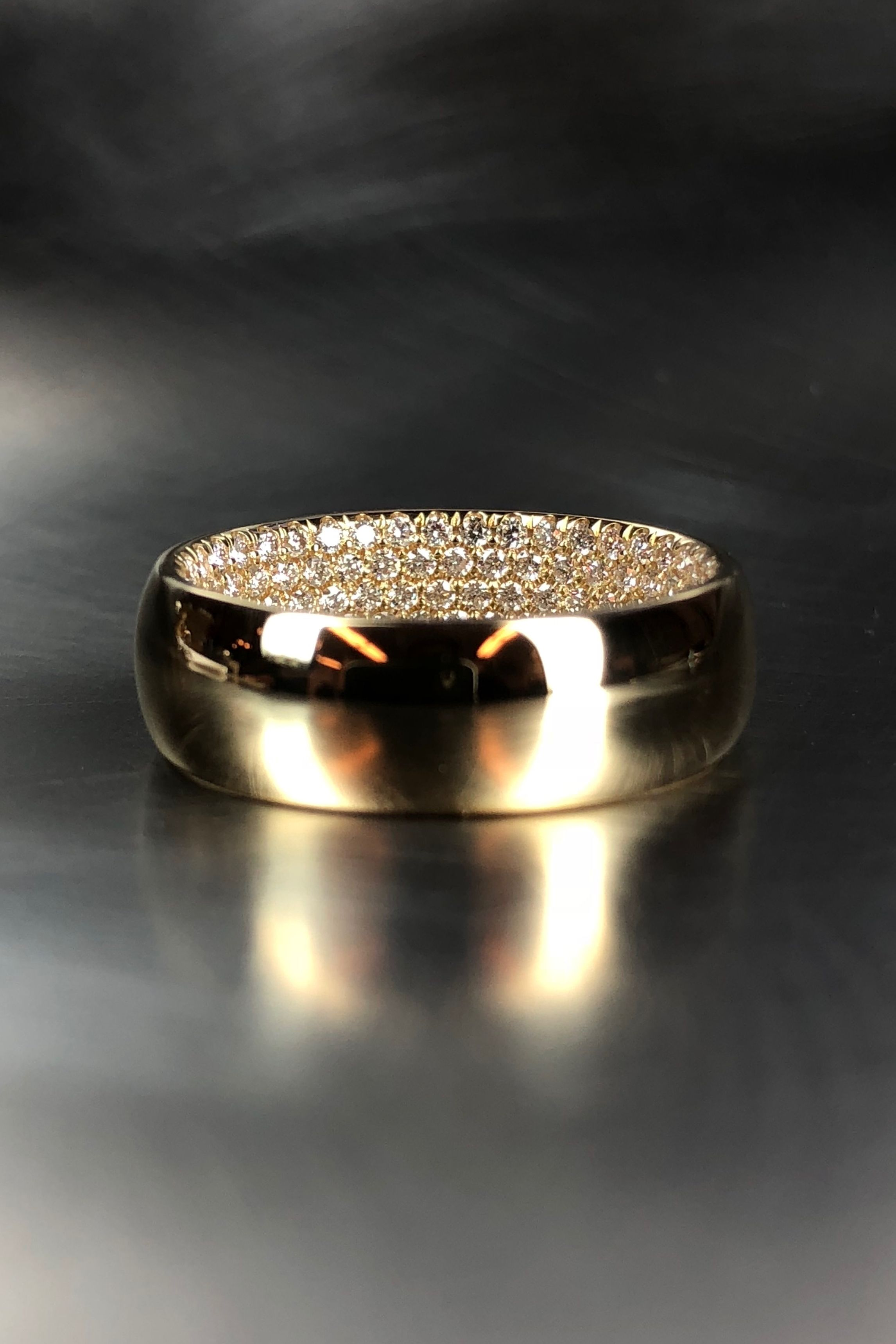 Unique Men S Gold Wedding Band With Hidden Diamonds Exclusively